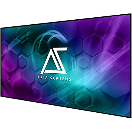 """Akia Screens 100 inch Edge Free Fixed Frame Projector Screen 100"""" Diagonal 16:9 8K 4K Ultra HD 3D Ready CINEWHITE UHD-B Black Projection Screen for Indoor Movie Video Home Theater AK-NB100H1"""