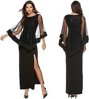 0ac369c968d POachers Robe Noire Femme-Robe Longue Femme Mode Solide Paillettes Creuses  Dentelle Fête Longue Maxi