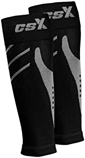 CSX 15-20 mmHg Compression Sleeve for Men and Women, Leg Calf Support, Athletic Sport Fit, Silver on Black, Medium