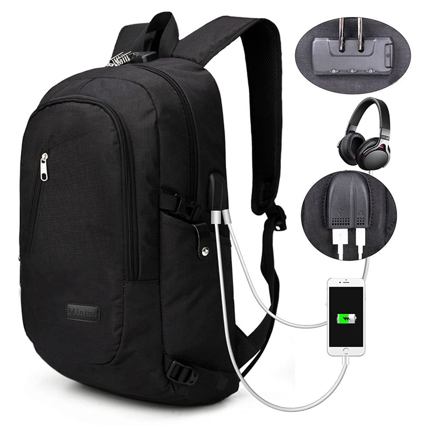 Business Laptop Backpack - Portable Water Resistant Laptop Bag for 15.6 Inch Computers - Business Oxford Notebook Shoulder Bag for Travel, School, with USB Port and Multiple Zipper Pockets (Black)