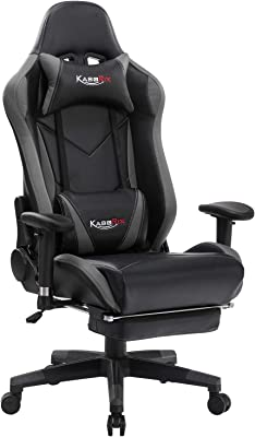 ASORIX Computer Chair High Back Gaming Chairs of Professional Racing Style Comfortable Gamer Chair with Footrest and Massage Backrest and Lumbar Pillows(Grey-8)