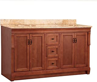 Foremost NACASETS6122D Naples 61-Inch Width x 22-Inch Depth Double Sink Vanity with Stone Effects, Tuscan Sun