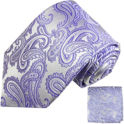 Cravate homme argenté violet ensemble de cravate 2 Pièces ( longueur 165cm )