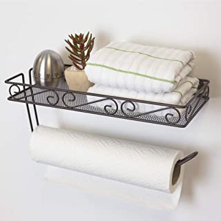 Home Basics Scroll Collection Wall Mounted Paper Towel Holder with Basket, Multi-Purpose Shelf Storage Towels, Toiletries, Supplies, Ideal for Kitchen/Bathroom Bronze (1)