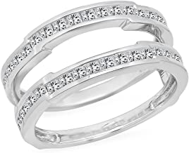 dazzlingjewelrycollection 1.15 Carat (Ctw) 14K White Gold Over Sterling Silver Princess Cut White Diamond Ladies Anniversary Wedding Band Enhancer Guard Double Ring 1 1/4 CT