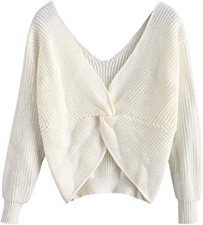 Women's V-Neck Criss Cross Twisted Back Pullover Knitted Sweater Jumper