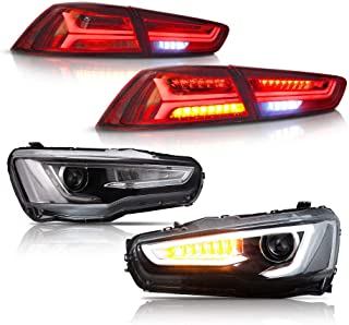 MOSTPLUS LED Headlights & Tail Lights for Mitsubishi Lancer EVO X 2008-2017 AudiA4 Style (Led H7 Bulb Included)