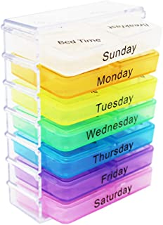 Rite Labs 7-Day Pill Drawer Organizer with 28 Compartments - Pocket Size Plastic Medicine Storage Box for AM PM Lunch and Bedtime - Ideal for Daily Use and Travel