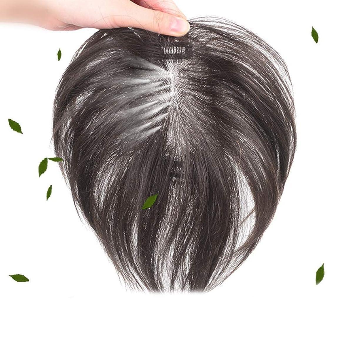 既婚見積りピッチHOHYLLYA 100%本物の人間のかつらの髪の上の交換用ブロック - 女性ファッションかつらのための目に見えないふわふわかつらの部分 (色 : Hand-woven [7x10] black 35cm)