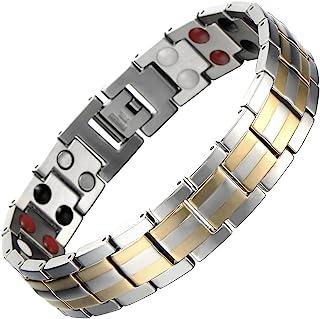 JFUME Bracelet pour Homme en Acier Inoxydable Ajustable avec Gratuit Lien Outil de Suppression Noir Or Couleur 21cm