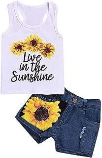 WOCACHI Toddler Baby Girls Shorts Set, Kids Sleeveless T-Shirt Sunflower Floral Denim Shorts Outfits 2pcs Sets
