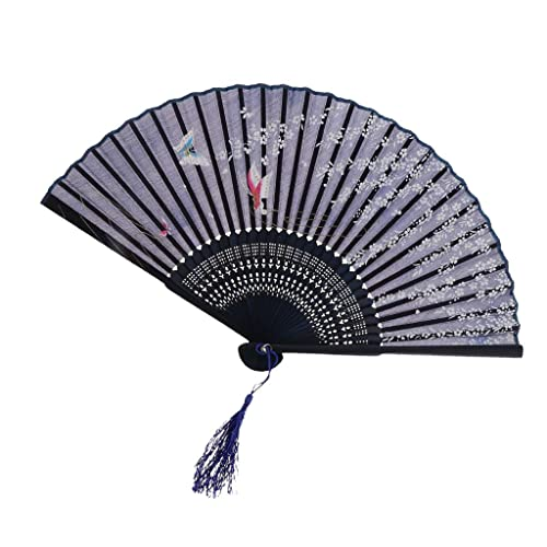 8 Colors Chinese Japanese Foldable Lace Trim Hand Fan Floral Print Chun Style