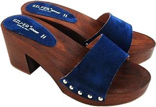 Zoccolo Donna - in Vero Legno - Pelle di camoscio - SilferShoes - Made in Italy - Colore Jeans - Colore Blue