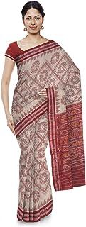 ODISHA HANDLOOM Ikat Tie & Dye Handloom Women's Cotton Saree (Off-White)