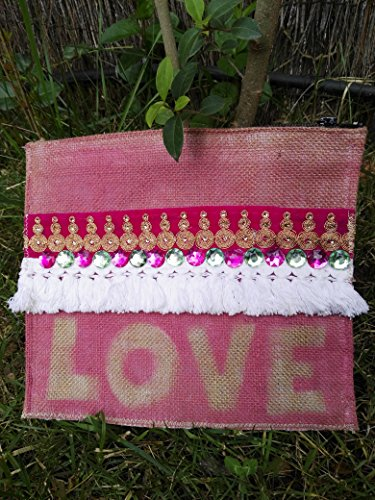 Bolso de tela de rafia (saco) LOVE