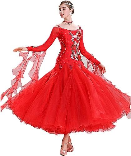 Haut Grade Robe de Compétition de Danse Moderne Les Bretelles Robes Tango Foxtrouge dans la Salle de Bal Valse Norme Nationale Spectacle de Danse Vêtements de Danse Peut être Personnalisé,rouge,S