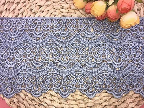 14CM Width Europe Long Pattern Inelastic Embroidery Lace Trim,Curtain Tablecloth Slipcover Bridal DIY Clothing/Accessories.(4 Yards in one Package) (Light Blue)