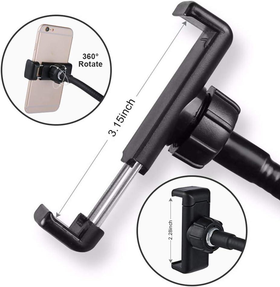 Black 2 in 1Selfie Ring Light Phone Desk Holder LED Camera Lighting 3 Light Mode with Flexible Arms 360 Degree Bracket Desk Lamp