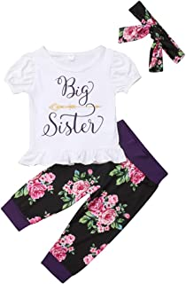 Urkutoba Baby Girls Little Sister Big Sister Short Sleeve Bodysuit T-Shirt Tops Floral Pants Bowknot Headband Hat Outfits Set