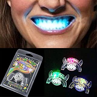 khkadiwb Halloween Decorations Mouth Brace & Halloween Flashing LED Light Up Mouth Braces Piece Glow Teeth Party Completely Sealed for Safety Non-Toxic Kids Gift