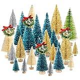 KUUQA 36Pcs Conjunto de árboles de Cepillo de Botella, Diorama Trees Mini Sisal Navidad Trees con Coronas navideñas para Decoraciones de Mesa navideñas, decoración de la Sala de Bricolaje