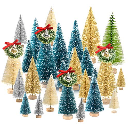 KUUQA 36Pcs Bottle Brush Trees Set, Diorama Trees Mini Sisal Christmas Trees with Christmas Wreaths for Christmas Table Decorations, DIY Room Décor Winter Decoration