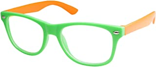 grinderPUNCH Kids Nerd Retro Two Color Frame Clear Lens Childrens Eye Glasses (Age 3-10)