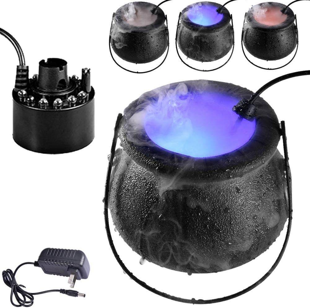 Halloween Smoke Machine Water Fountain Pond Fog Machine Atomizer Air Humidifier with 12 LED Light Color Change. 24V Super Ultrasonic Mist Maker Fogger