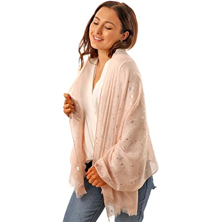 Style Slice Evening Star Sparkle Scarves for Women- Lightweight Shawl Wedding Foil Print Scarf Wrap- Stars and Moons Scarf Women Star Lights