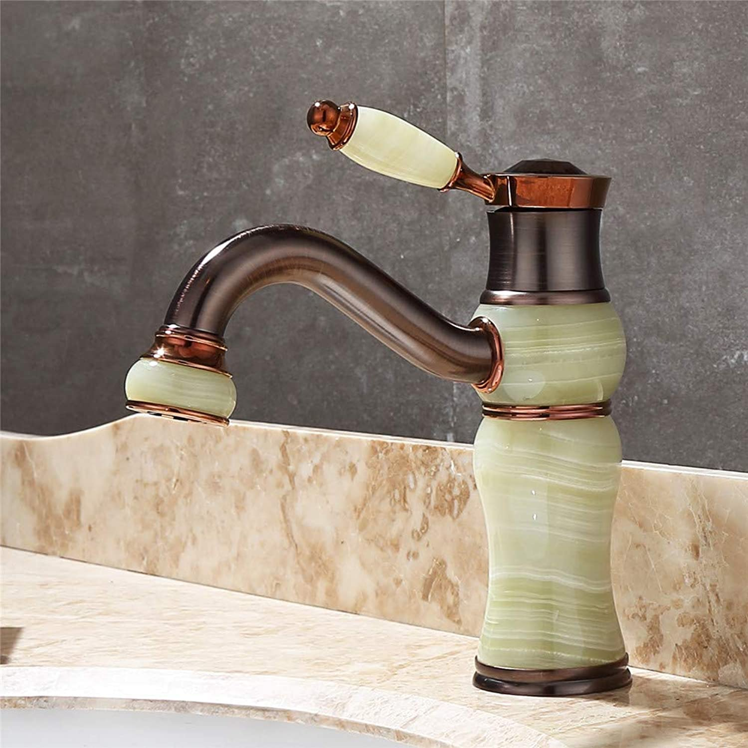 SEBAS HOME Bathroom Sink Taps Copper Natural Marble Black Bronze Wash Basin Hot And Cold Water Faucet pink gold European Antique Faucet