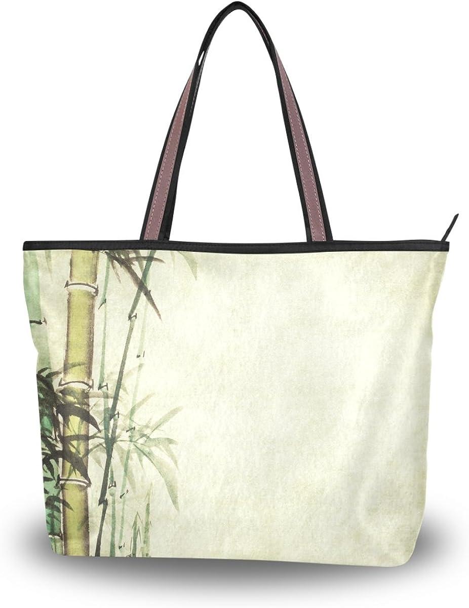 JSTEL Women Large Tote Top Handle Shoulder Bags Chinese Painting Bamboo Patern Ladies Handbag