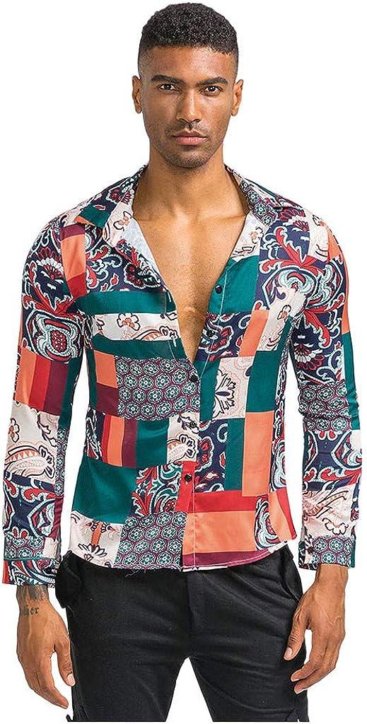 MODOQO Mens Striped Printed Turn Down Collar Long Sleeve Casual Shirts