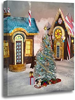 rouihot Canvas Wall Art Painting Gingerbread Village with Christmas Tree Illustrationcandy Land Sweet Landscape House 16x20 Inches Home Decorative Artwork Prints