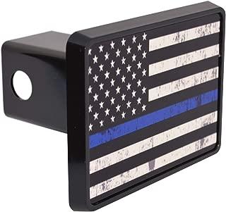 Tattered Thin Blue Line Flag Trailer Hitch Cover Plug US Blue Lives Matter Police Officer Law Enforcement