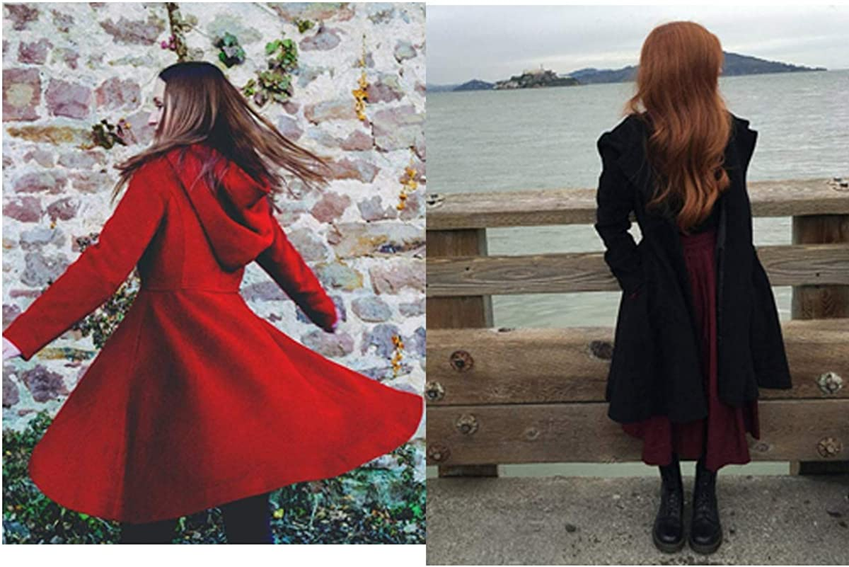 Onsoyours Taschen Langarm Elegant Wollmantel mit Kapuze Damen Ausgestellter Mantel Kleider Wintermantel Outwear Schwarz