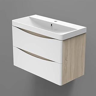 Xinyang Meuble sous Vasque Moderne,Meuble Lave-Mains à Suspendre avec lavabo, Meuble de Rangement, Blanc et Bois Clair 2 t...