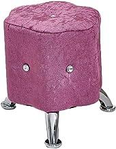 Yxsdd Stool Footstool Sofa Stool European Creative Bedroom Living Room Stool Fabric Stool (Color : Pink, Size : 30 * 30cm)