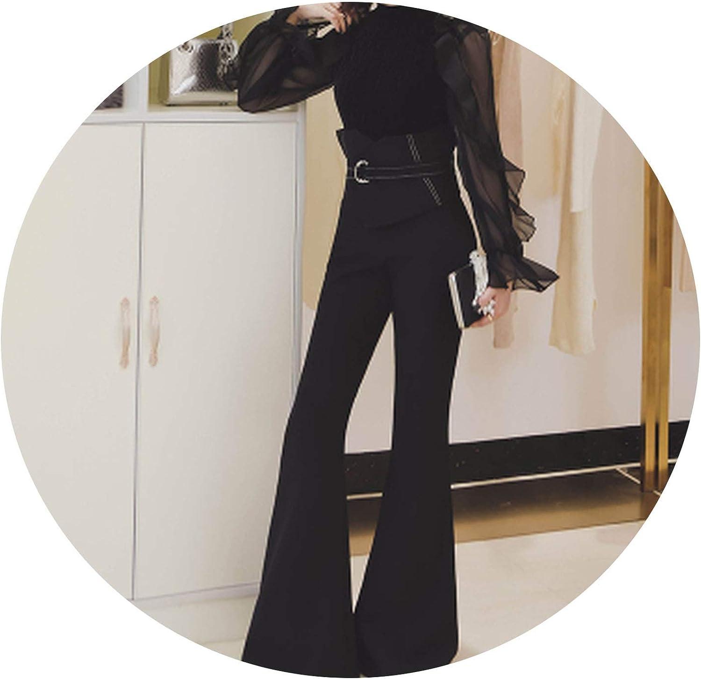 blueeshore Cotton Slim Flare Pants High Waist Long Trousers Women Office Work Pants Wide Leg Thin Female Trousers