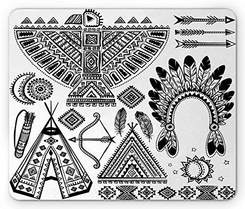ASDAH Alfombrilla de ratón Tribal, Banda para la Cabeza de Plumas, Tienda Tipi, Arco y Flecha, Estampado artístico, rectángulo, Alfombrilla de Goma Antideslizante, Blanco y Negro