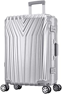 SMLCTY Lightweight 20 Inch / 24 Inchcarry On Luggage,360° Rotating Universal Wheel Customs Password Lock ABS+PC Large Capacity Waterproof Outdoor Travel Boarding (Color : Silver, Size : 20 inch)