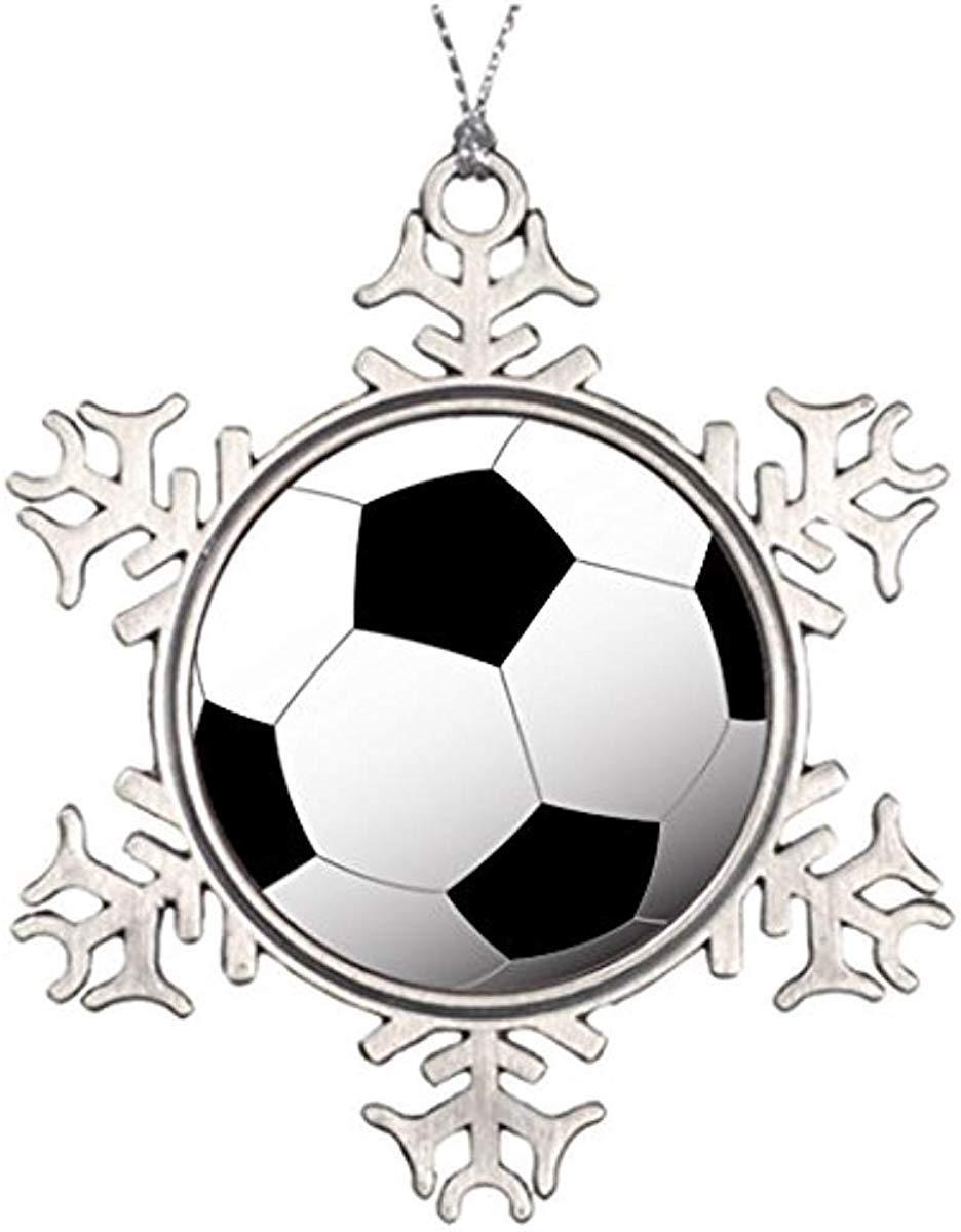 "DoreenAbe 3"" Ornament, Metal Snowflake Ornament, Xmas Trees Decorated Soccer Ball Merry Christmas from Heaven Snowflake Ornament Keepsake Gift"