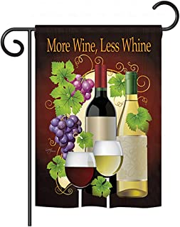 Breeze Decor G167022, Less Whine Happy Hour & Drinks Everyday Wine Impressions Decorative Vertical Garden Flag, 13