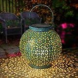 Geemoo Solarlaterne für Außen, Retro Metall Solar Laterne Hängend für Draußen, Dekorative Solarlampe Garten Laterne Gartenleuchte Wasserdicht (Blau)