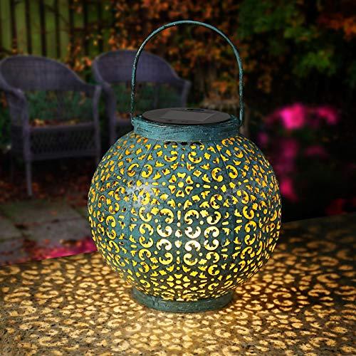 Linterna Solar Exterior, Geemoo Azul Farol de metal vintage Solar, Farolillo Solar Exterior Jardín Colgando,Lámpara de Decoración Solar para Jardín Exteriores de Patio
