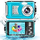 Waterproof Camera 1080P Full HD 30MP Video Resolution Underwater Camera 10FT Anti-Shake 16X Zoom Digital Waterproof Camera for Snorkeling,Travel (Blue)