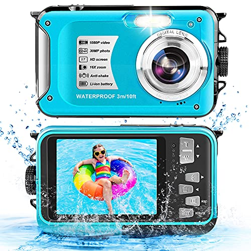 Camara Acuatica 10FT 1080P Full HD 30MP Camara de Fotos Acuatica, Camara Acuatica con Zoom Digital 16X antivibración para bucear con esnórquel