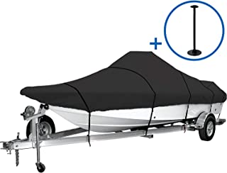 iCOVER Trailerable Boat Cover, 600D Heavy Duty Boat Cover Fits V-Hull Center Console Boat, Boat Cover Support Pole Included