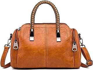 Crossbody Bag for Ladies, Women Soft Genuine Leather Handbag Large Capacity Shoulder Hobo Bag, Top Handle Satchel,Brown