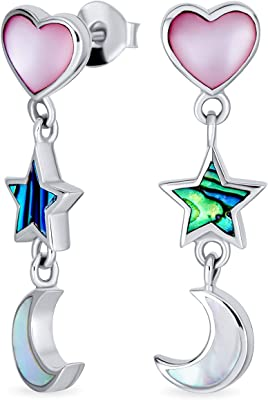 Romantic Celestial Crescent Moon Stars e Pink Heart White Mother of Iridescent Pearl Abalone Shell Inlay Dangle Earrings For Women Teens .925 Sterling Silver