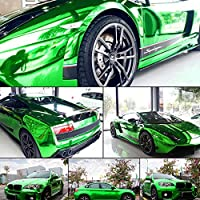 SUNDECK カーラッピングフィルム メッキ系 鏡面 緑 グリーン超伸縮 スーパー品質 エア抜き溝仕様 (幅1.52m×長さ0.3m)